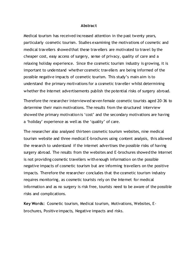 Medical Tourism Dissertation Abstract