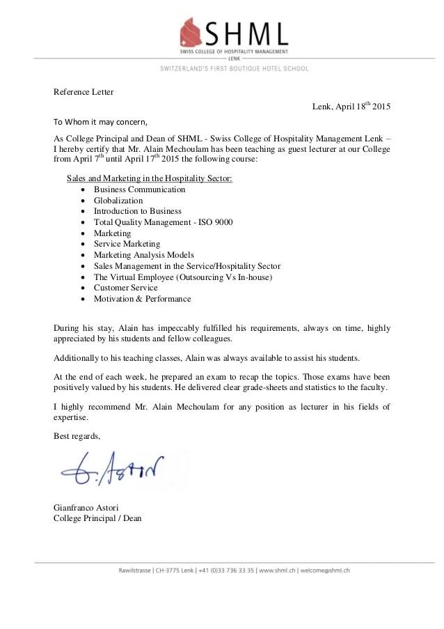 Reference Letter SHML Signed Gianfranco Astori Alain