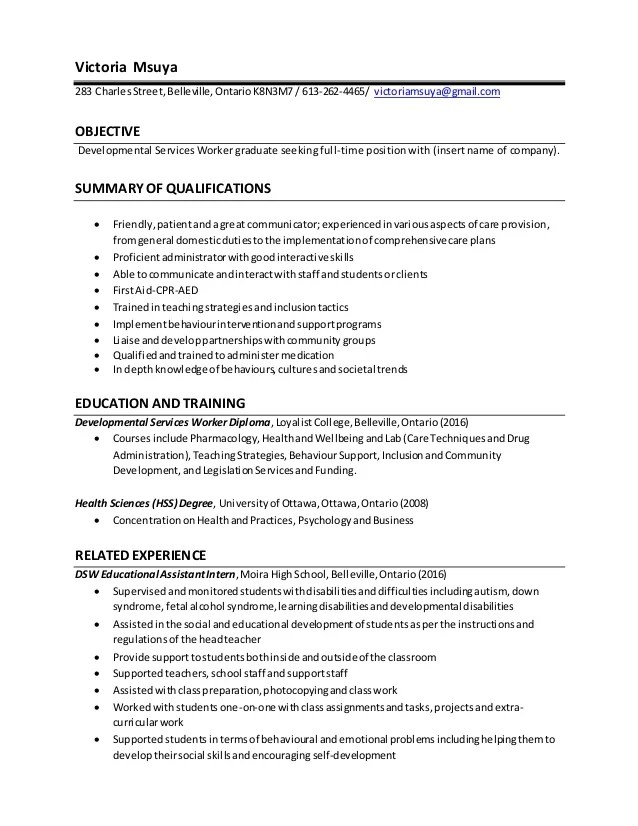 Dsw Resume Resume Ideas