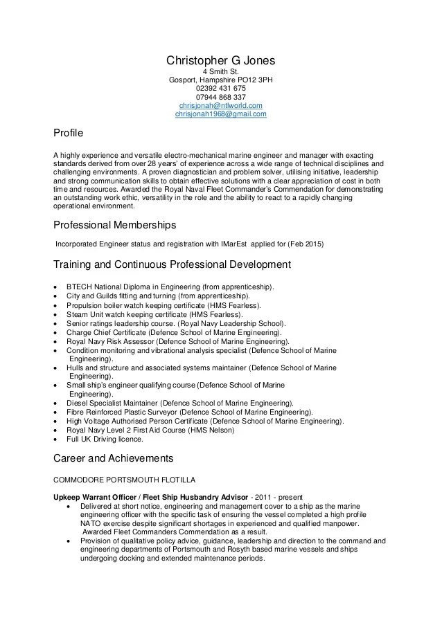 Mr Chris Jones General CV