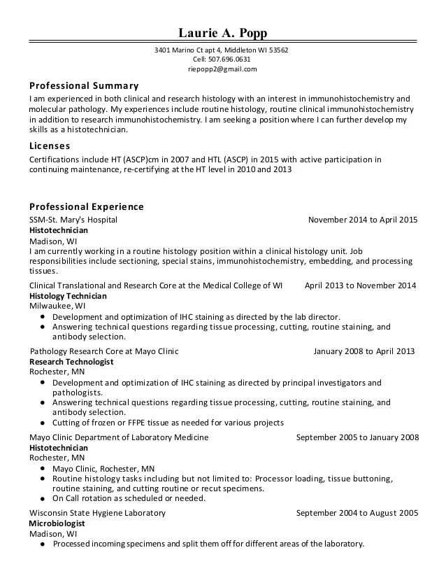 Histology Resume Surgical Tech Resume Example Lovely