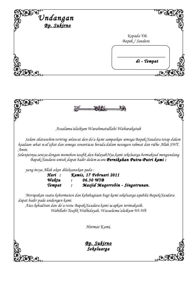 Contoh Surat Undangan Pernikahan Bahasa Sunda - Contoh Isi ...