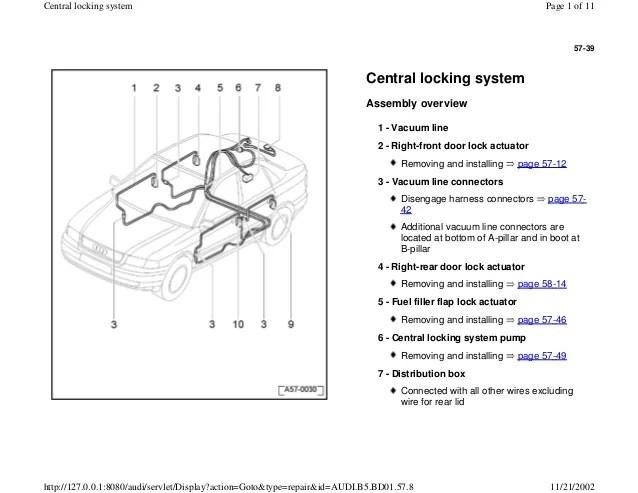 AUDI A4 B5 18L 1996 BADY 57 39 central locking system