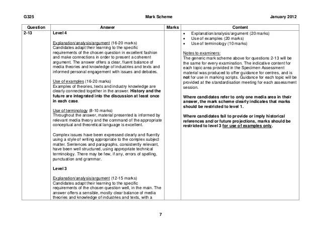 a2 english literature coursework mark scheme