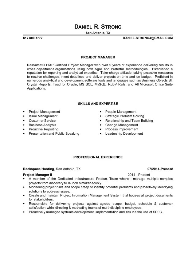 technical objective for resume