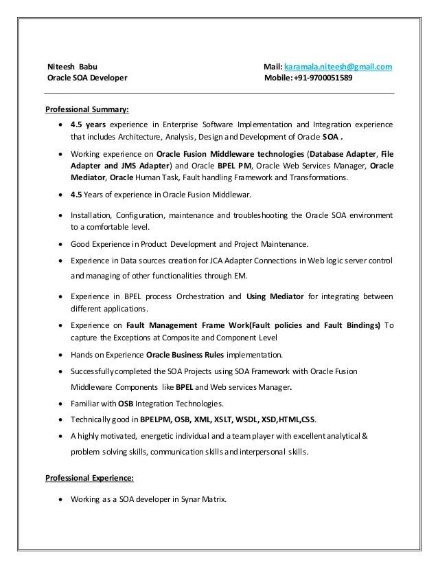 soa sample resume