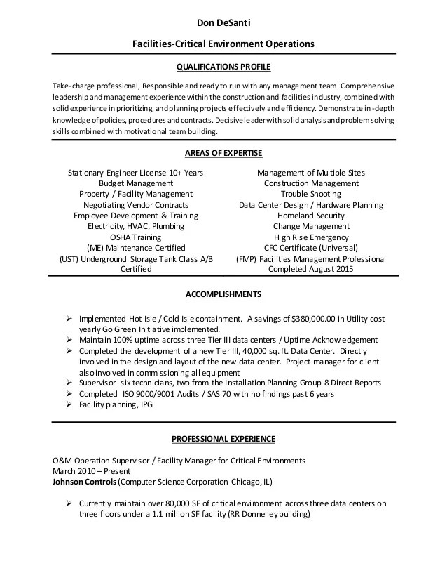 facilities operations manager resume samples