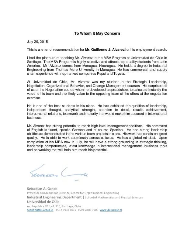 Recommendation Letter For Mr Guillermo Alvarez 29Jul15
