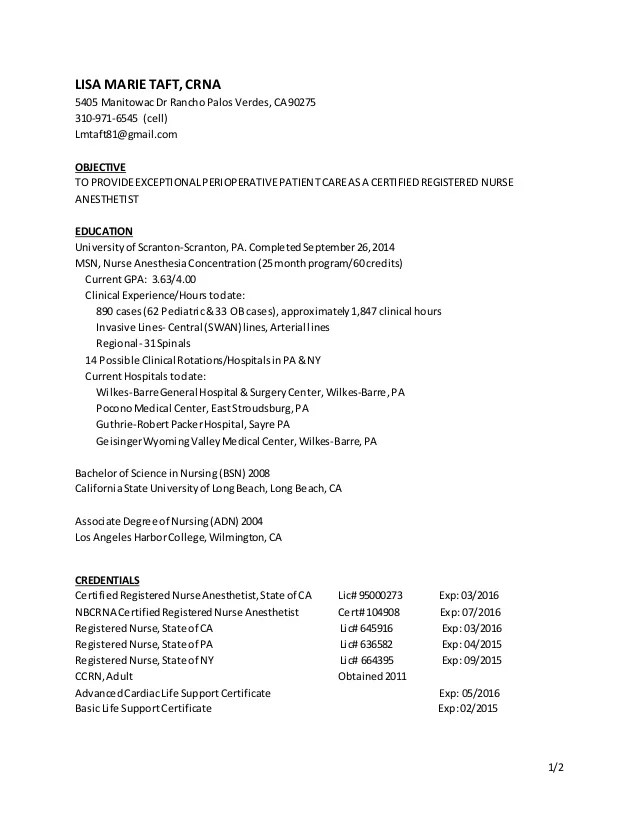 CRNA Resume March 15