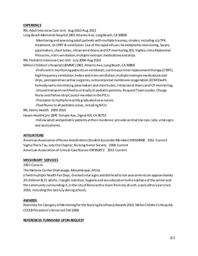 Nurse Anesthetist Resume Resume Ideas