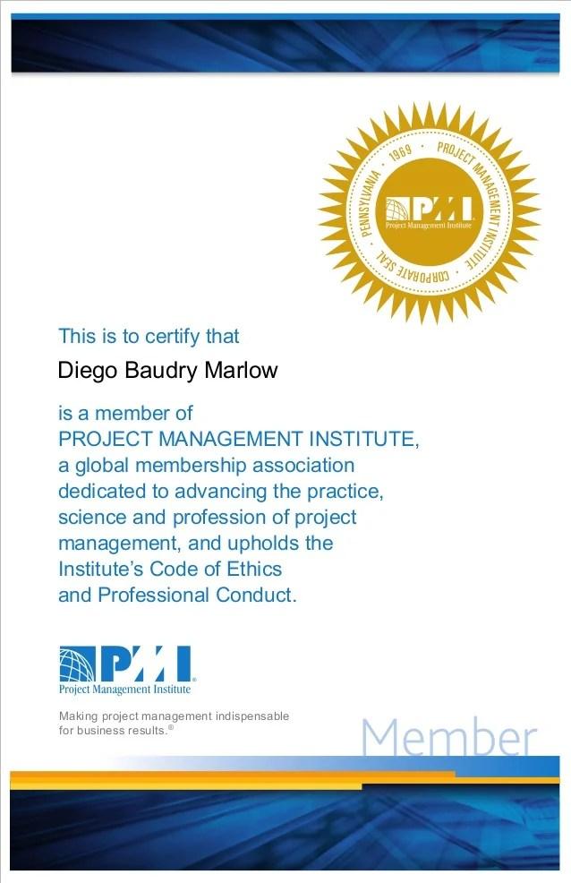 PMI Membership Certificate