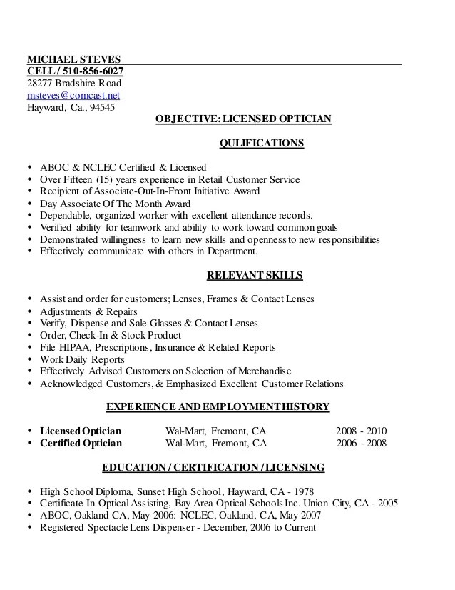 sample objective for resume in optician