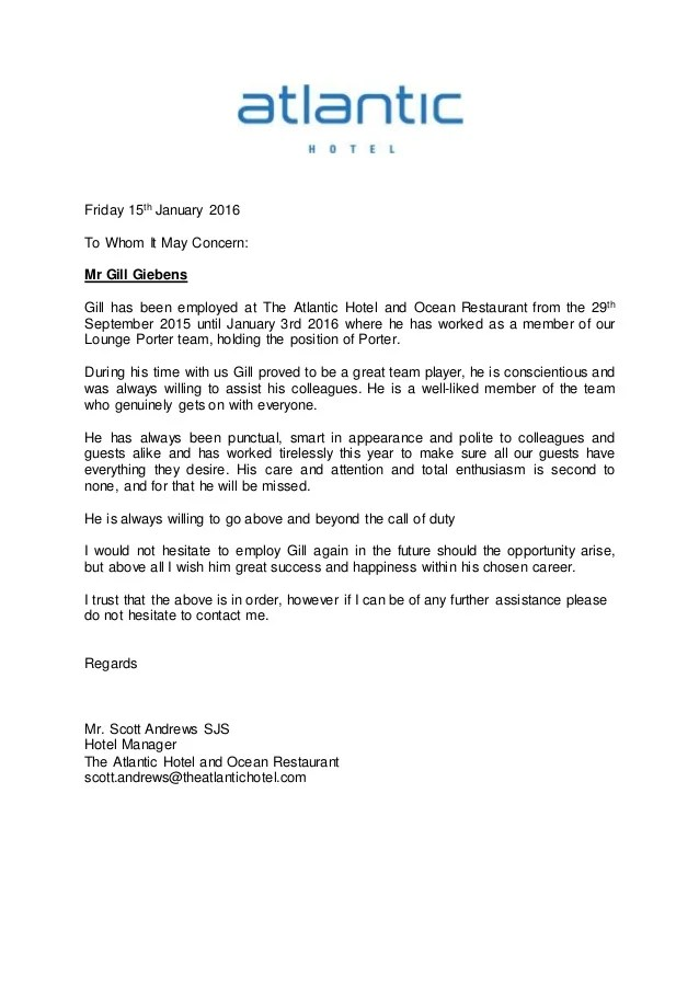 Reference letter Atlantic Hotel