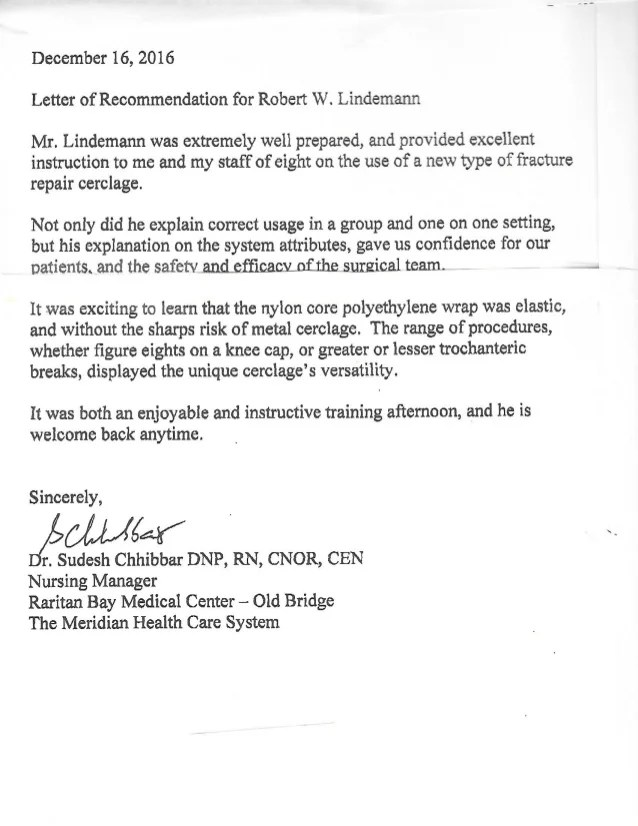 Nursing Manager Recommendation Letter Medical Device