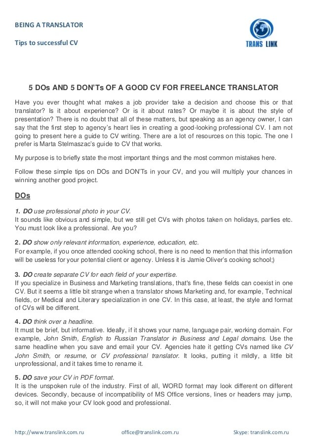 5 DOs And 5 DON'Ts Of A Good CV For Freelance Translator