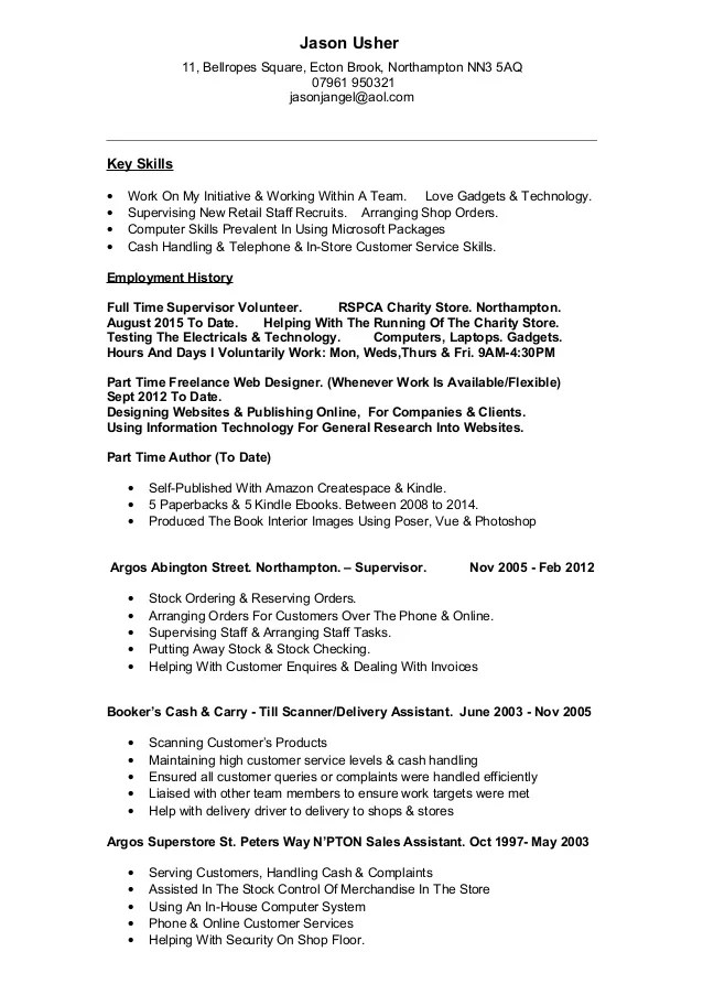 JasonUsher Retail CV August 2015