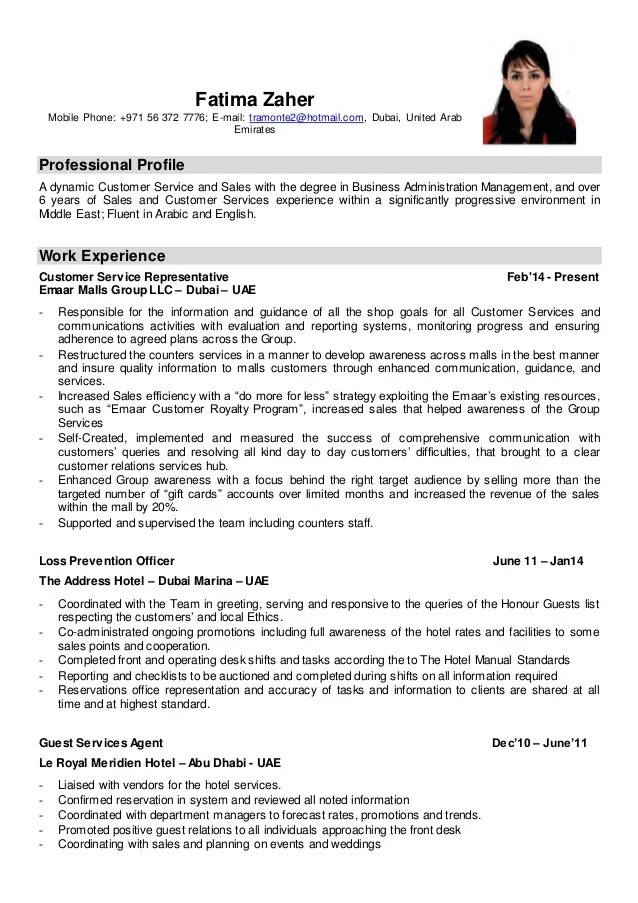 resume profile customer service