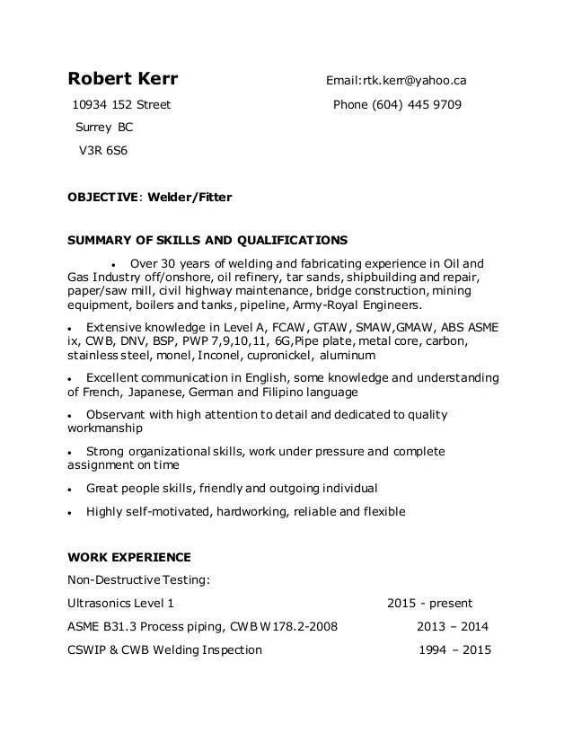 Robert Kerr Welder Resume