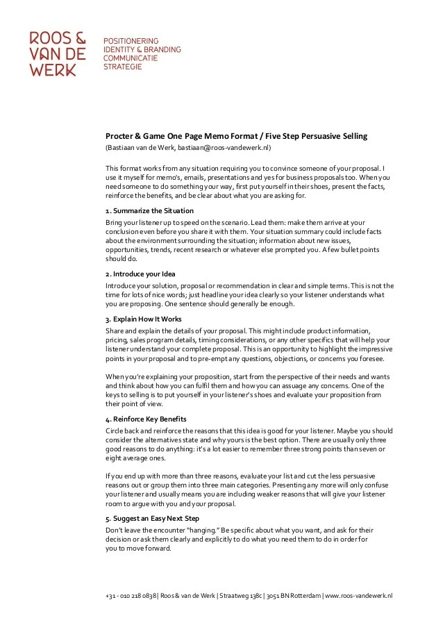 Procter & Gamble 5 Step Persuasive Selling One Page Memo