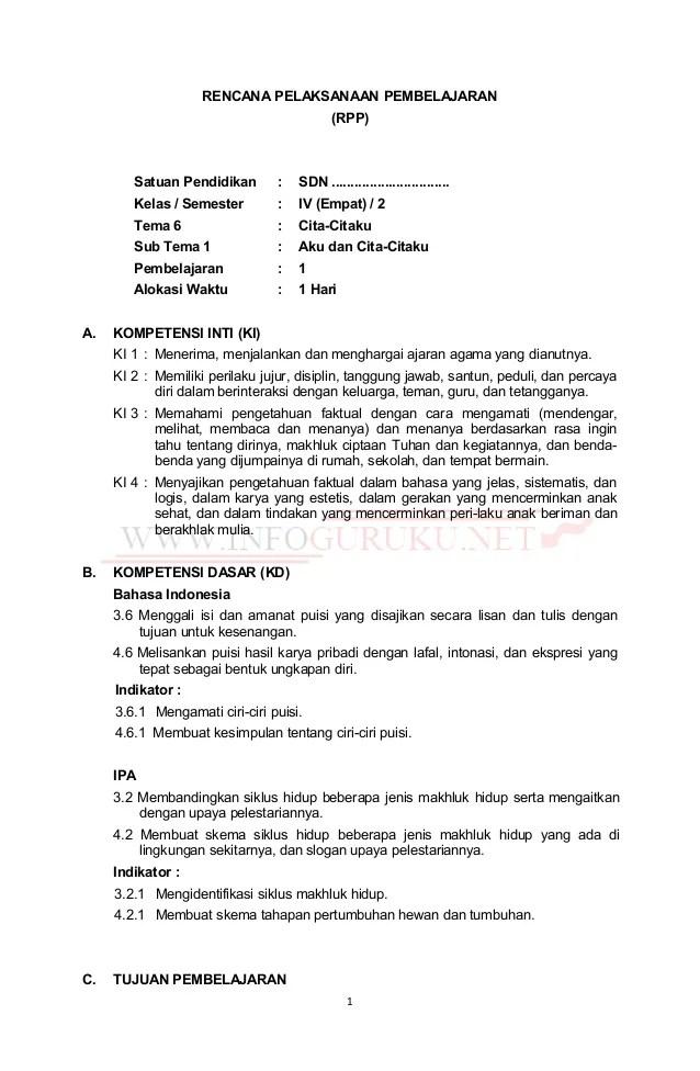 Unduh RPP K13 SD Kelas IV Semester 1 Revisi... - Info Dunia Edukasi