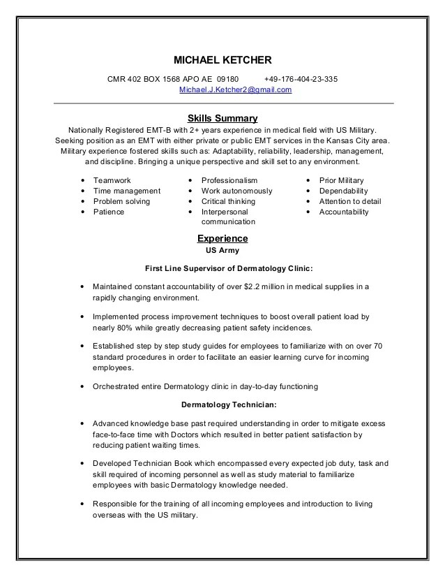 emt resume skills