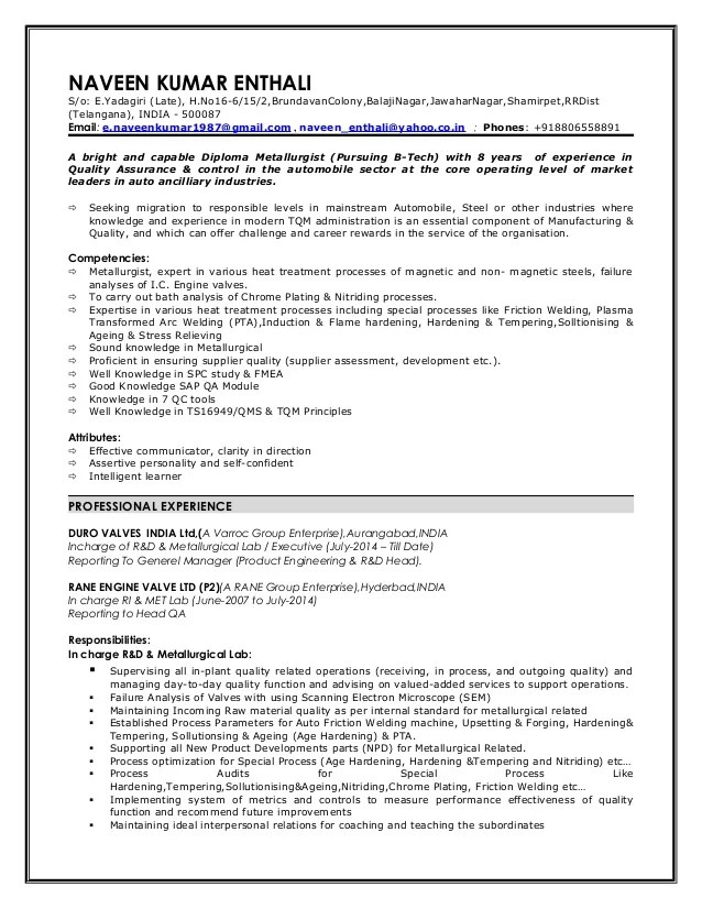 a sample of resume metallurgist