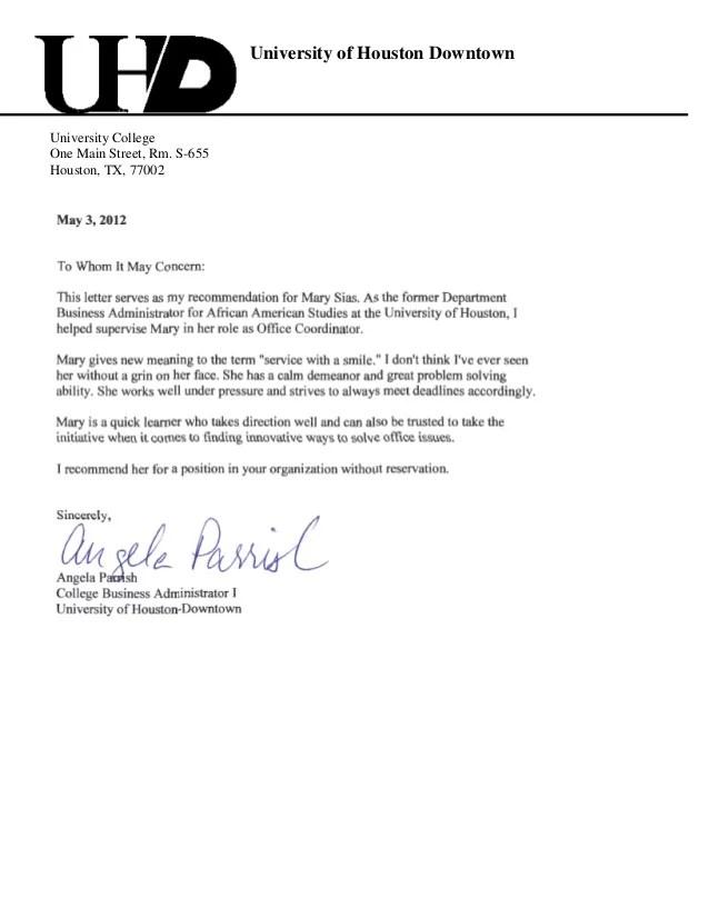 university of houston letter of recommendation