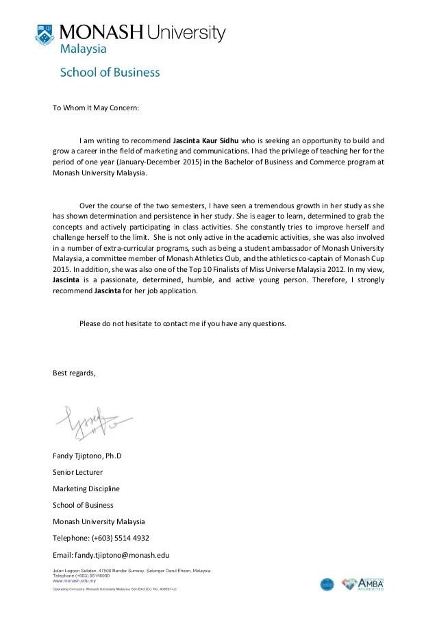 Recommendation letter Monash University