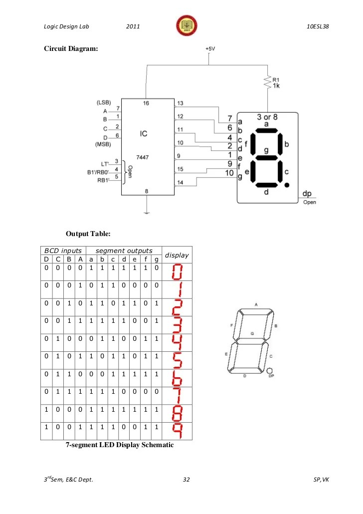 bcd to 7 segment led display decoder circuit diagram and working