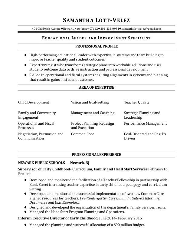sample educational leadership resume