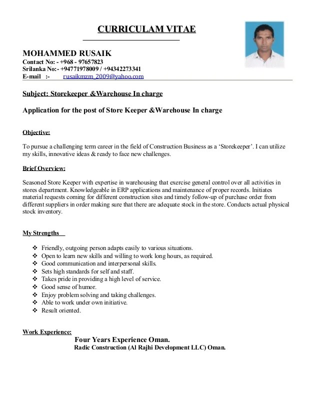 resume format in word for store keeper