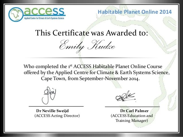 Habitable Planet Online Course Completion Certificate