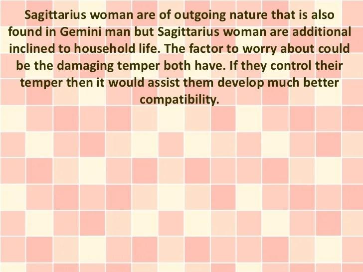 Sagittarius woman gemini man sexually