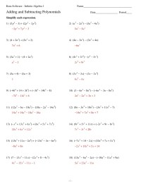 Subtracting Polynomials Worksheet