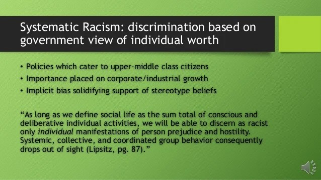 Systematic Racism and White Privilege