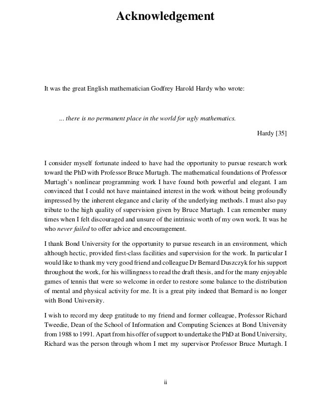 Academic Writing In English Lund University Sample Acknowledgment