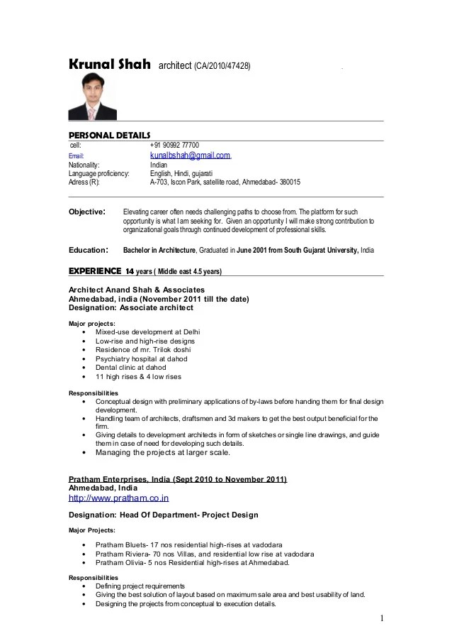 Resume Architect Krunal Shah