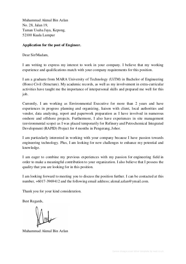 Akmal Azlan CV & Cover Letter