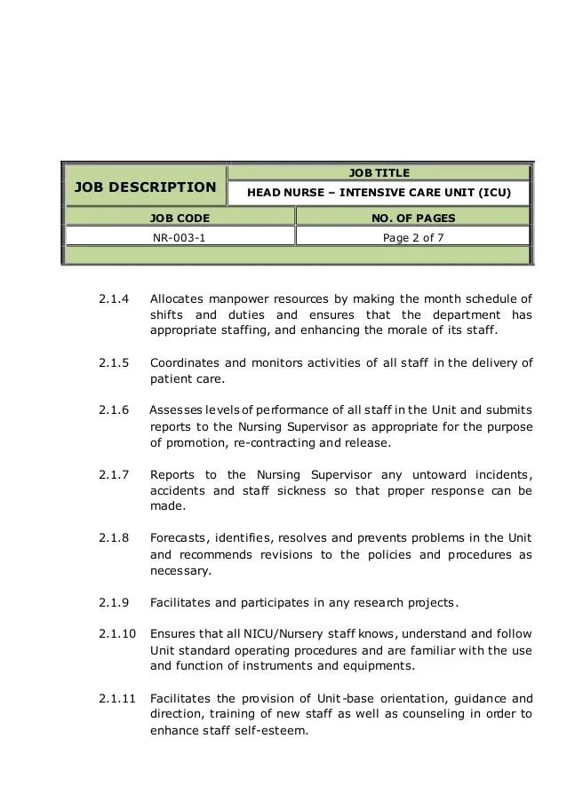 Registered Nurse Job Description – Cultua Info