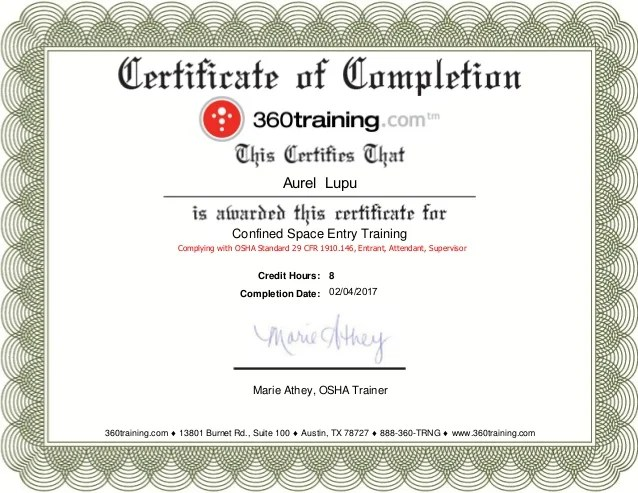 Hour Template 10 Osha Certificate
