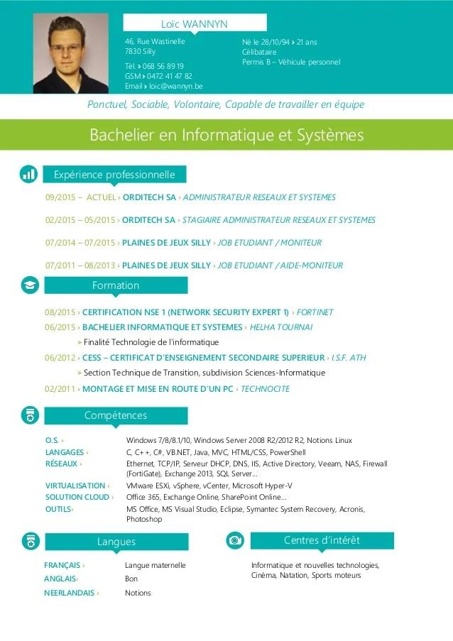 modele cv ingegnieur systeme et reseau informatique