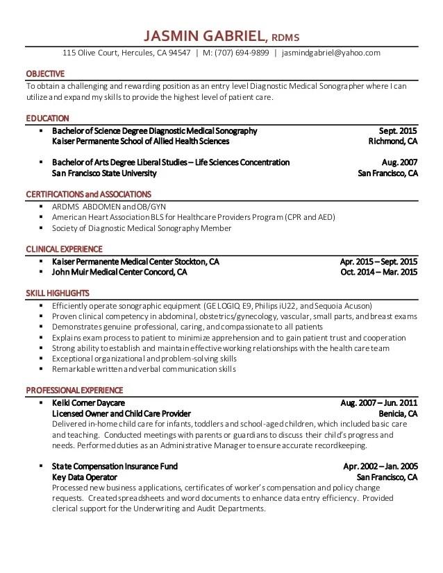 sonographer resume sonographer resume jasmin gabriel diagnostic - Resume For Health Science Majors