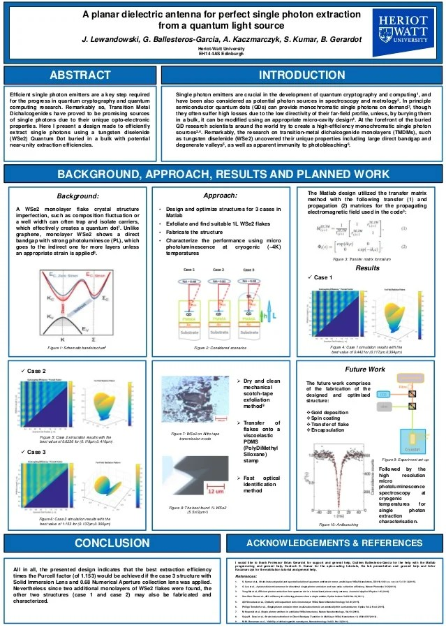 Nanoscience MPhys Final Year Research Project Poster