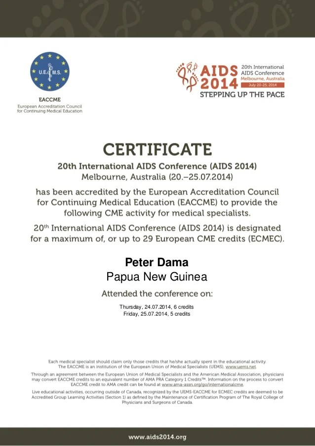 EACCME Certificate. AIDS Conference