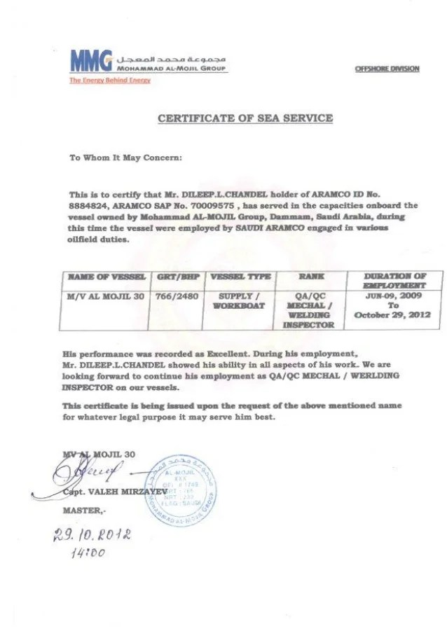 07 Certificate Of Sea Service From MMG Offshore