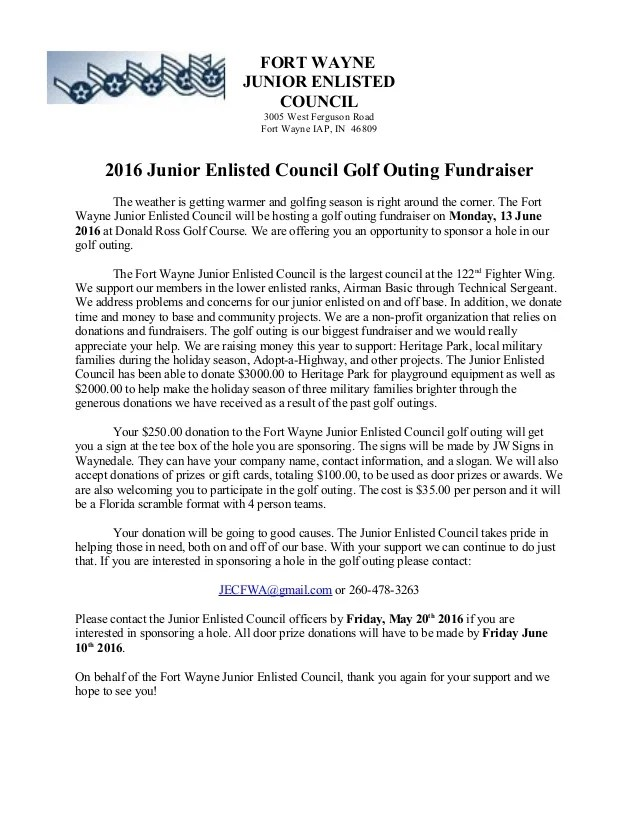 2016 New Golf Outing Letter