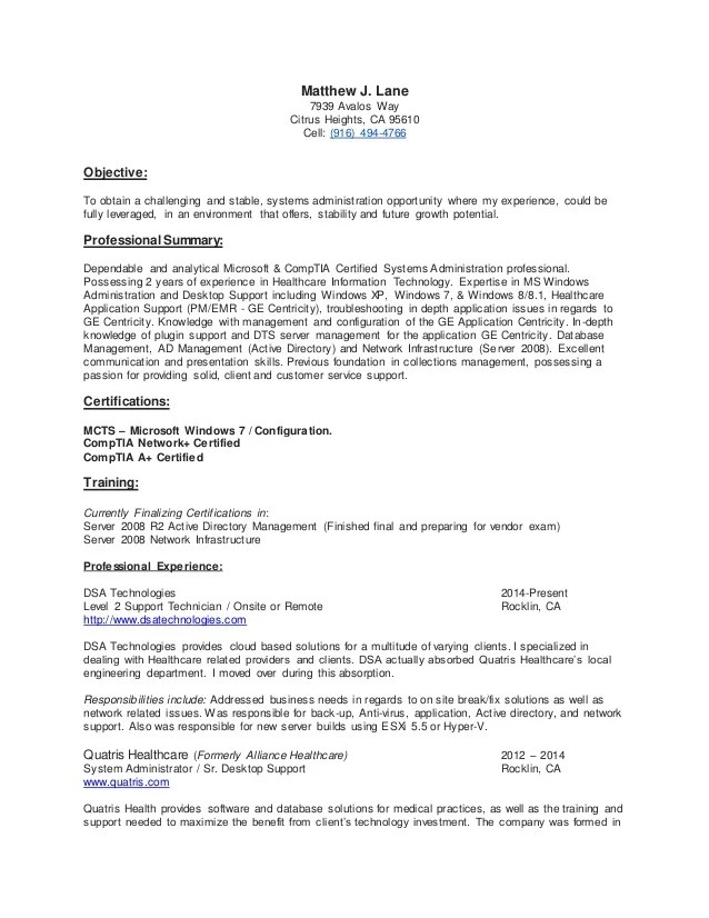 Matthew Lane Resume MCTS CompTIA Certified Systems
