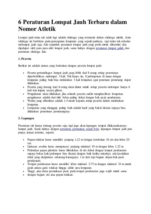 Peraturan Permainan Atletik : peraturan, permainan, atletik, Peraturan, Lompat, Terbaru, Dalam, Nomor, Atletik