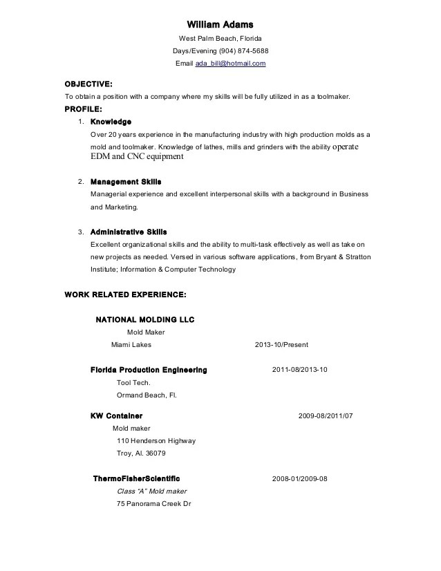Tool Maker West Palm Resume