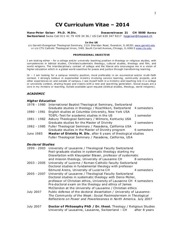 2 CV HPGeiser Academic Pastoral PhD MDiv 2014